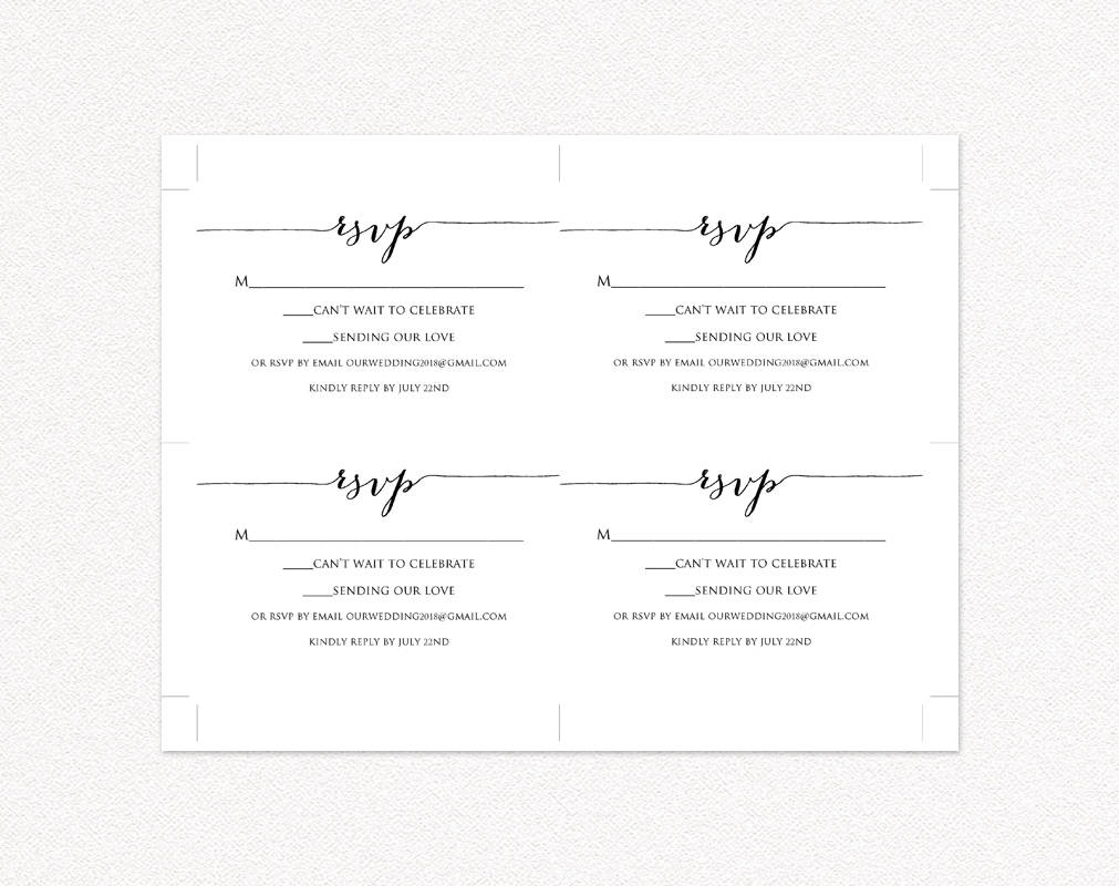 Rsvp Card Printable Template Diy Wedding Templates And