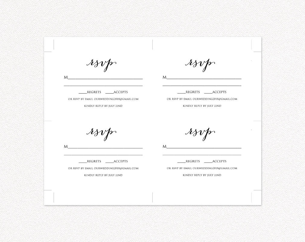 wedding rsvp card template diy wedding templates and. Black Bedroom Furniture Sets. Home Design Ideas