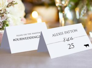 Double Sided Hashtag Place Cards