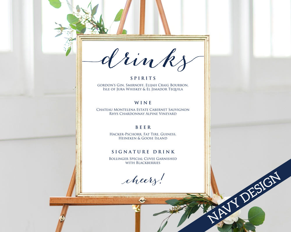 drinks sign template wedding templates and printables