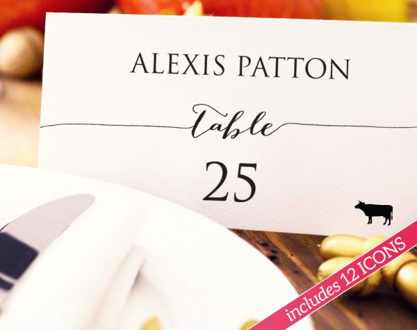 place cards with meal choice