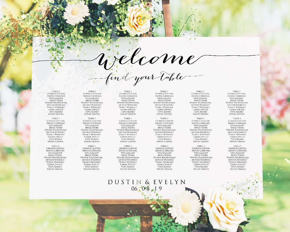 Welcome Wedding Seating Chart Seating Chart Template