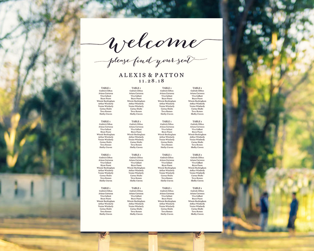 wedding seating chart template seating chart ideas