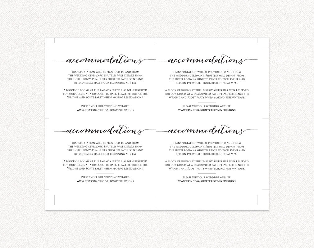Accommodations card wedding templates and printables accommodations card maxwellsz