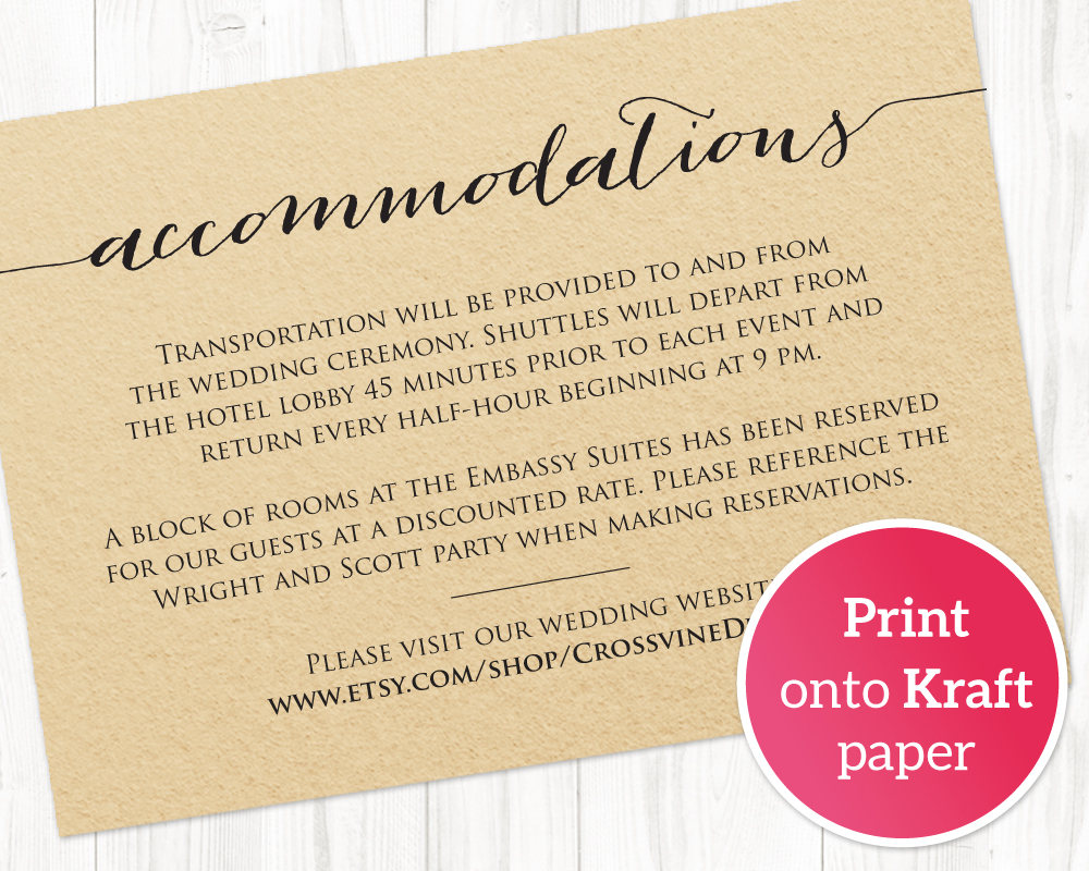 Accommodations Card Wedding Templates And Printables