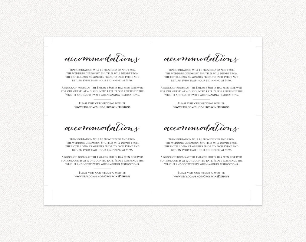 wedding accommodations card insert wedding templates and printables