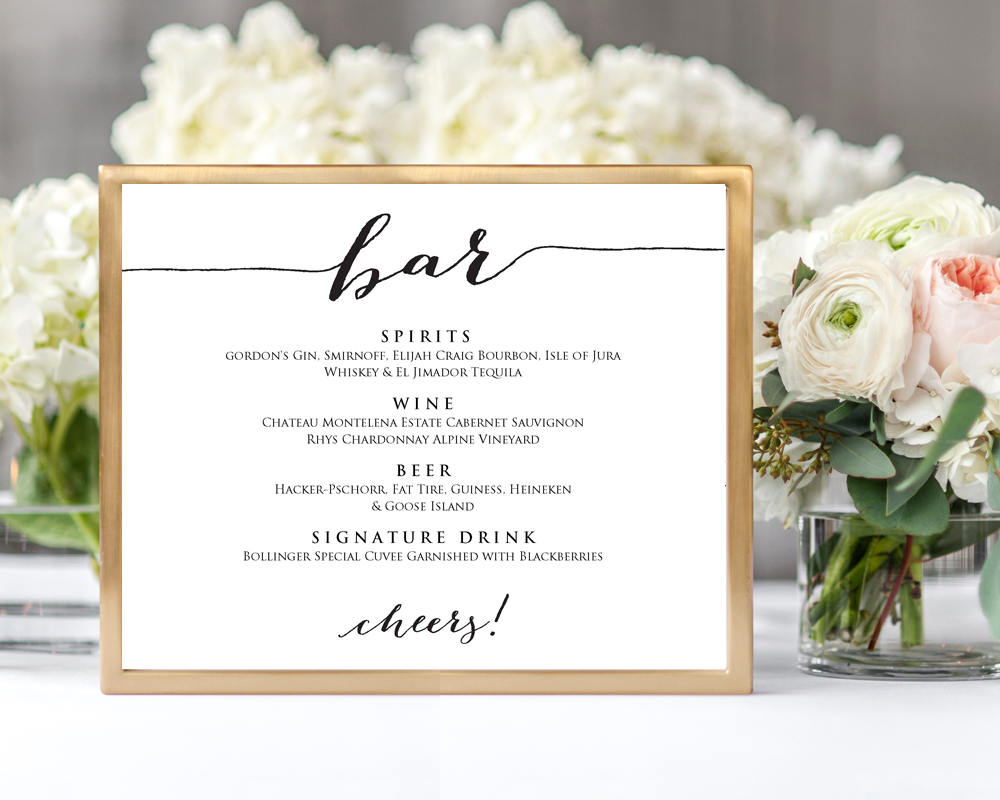wedding bar menu wedding templates and printables