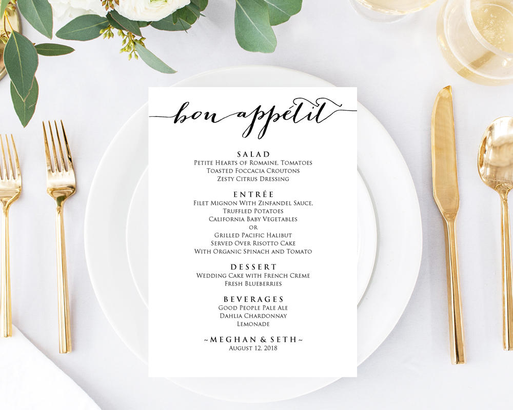 Wedding Menu Cards · Wedding Templates and Printables