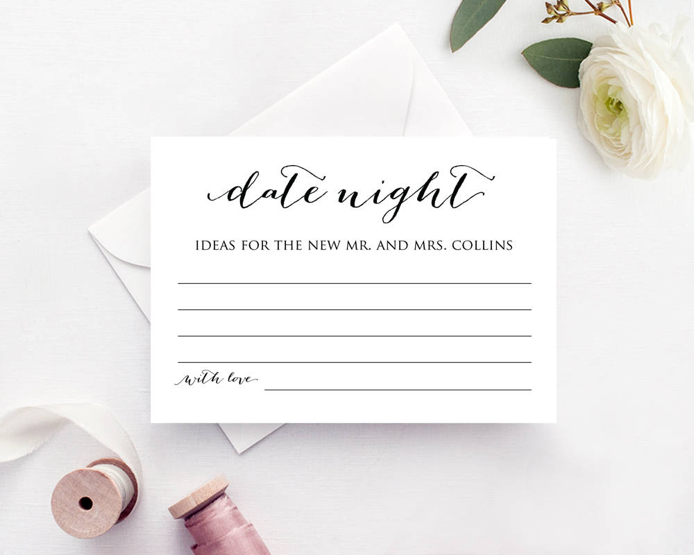 date night ideas card template bridal shower game