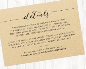 details card template - Wedding Invitation Details Card