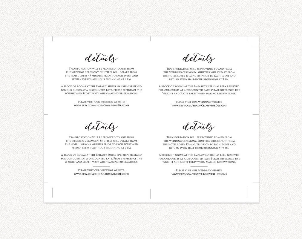 wedding details card insert wedding templates and printables. Black Bedroom Furniture Sets. Home Design Ideas