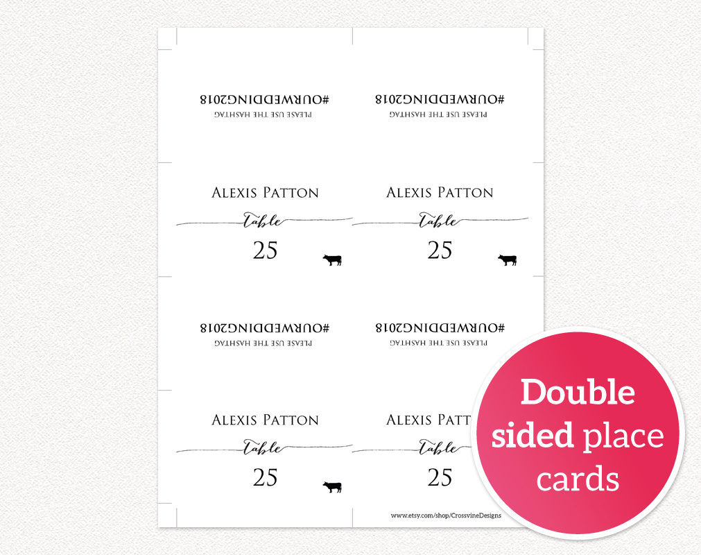Hashtag place cards wedding templates and printables for Double sided place card template
