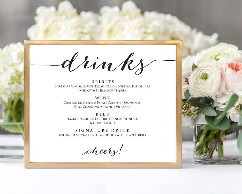 wedding drinks menu 183 wedding templates and printables