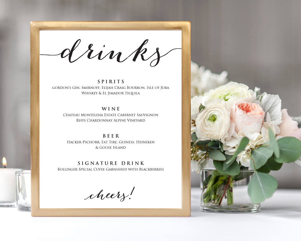 wedding drinks menu wedding templates and printables