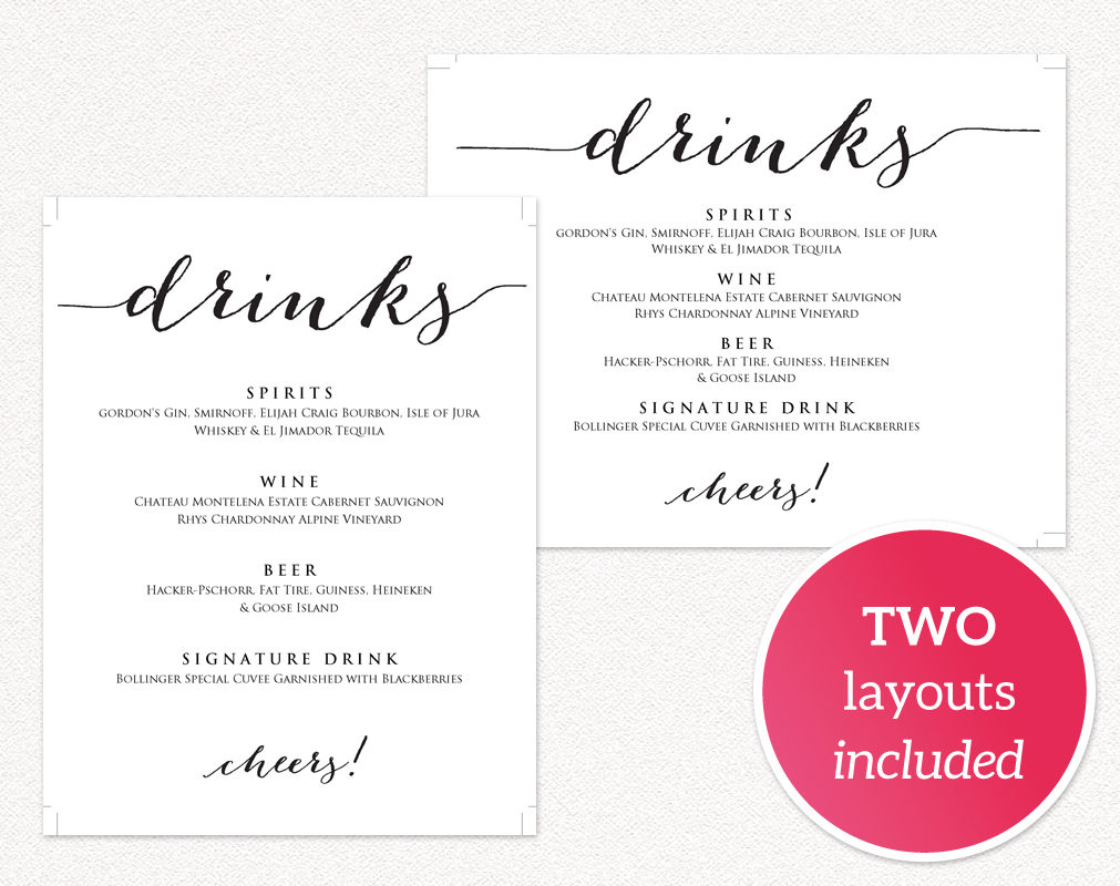 Wedding drinks menu wedding templates and printables for Wedding drink menu template free