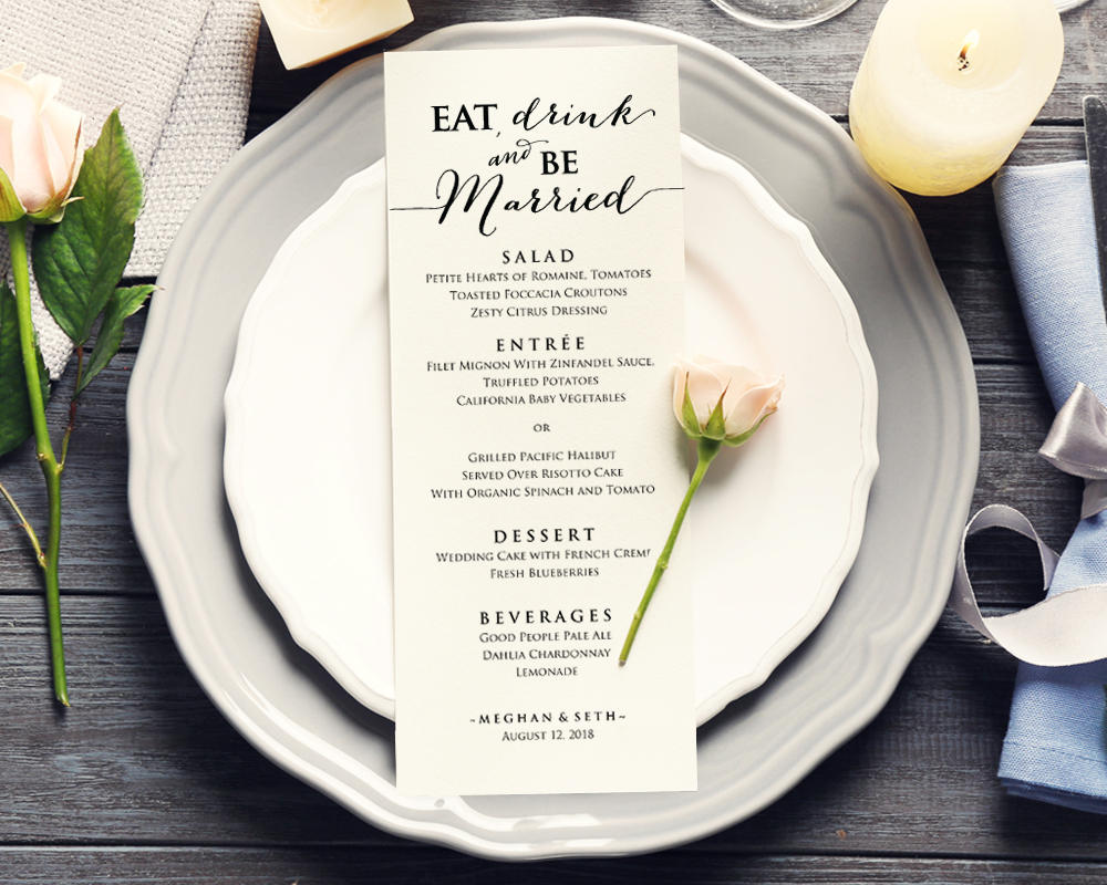 eat drink and be married menu  u00b7 wedding templates and