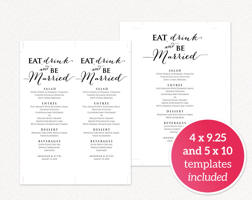 Eat drink and be married menu wedding templates and for Wedding drink menu template free