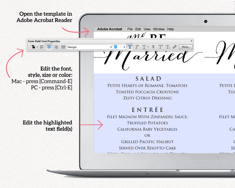 Eat Drink And Be Married Menu · Wedding Templates and Printables