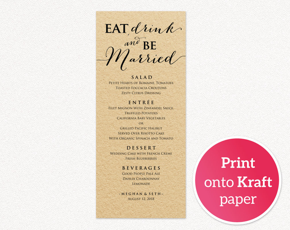 eat drink and be married menu wedding templates and printables