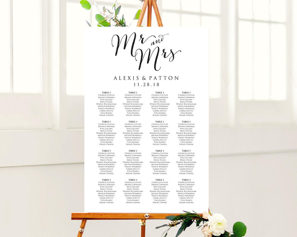 Wedding seating chart poster template free