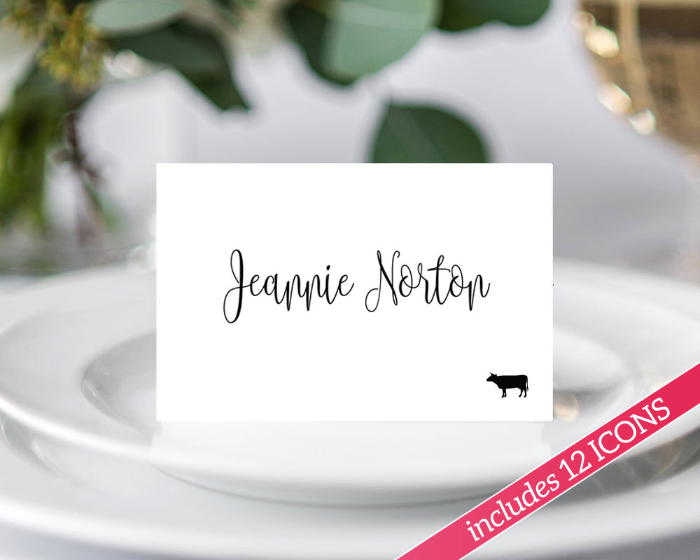 place card templates with meal icons  u00b7 wedding templates and printables