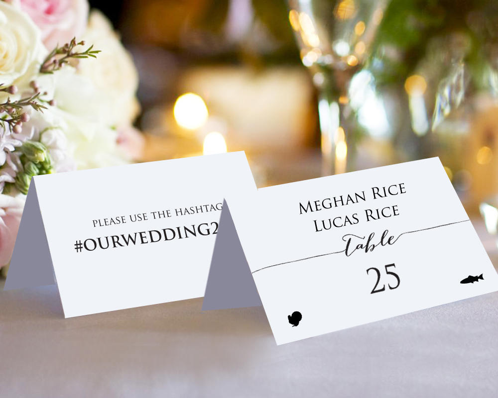 Double sided place cards with meal options wedding for Templates for place cards for weddings