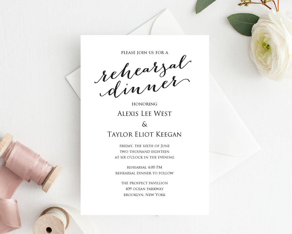 Rehearsal Dinner Invitation Template · Wedding Templates and Printables