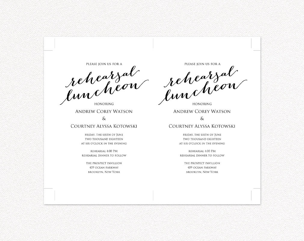 rehearsal luncheon invitation template wedding templates and