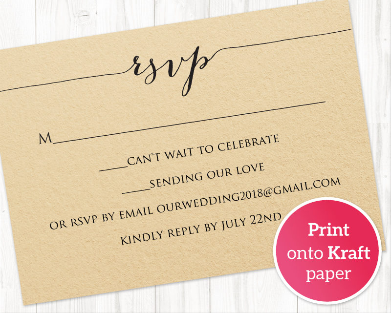 Rsvp card printable template wedding templates and for Rsvp cards for weddings templates