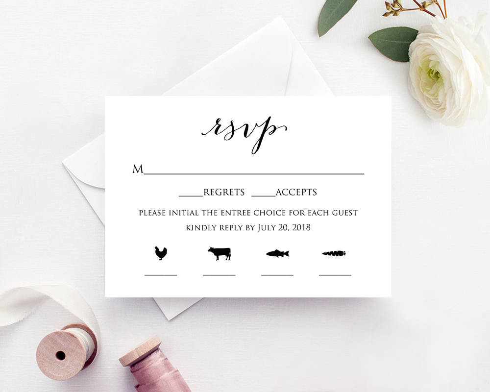 rsvp card with meal icons templates