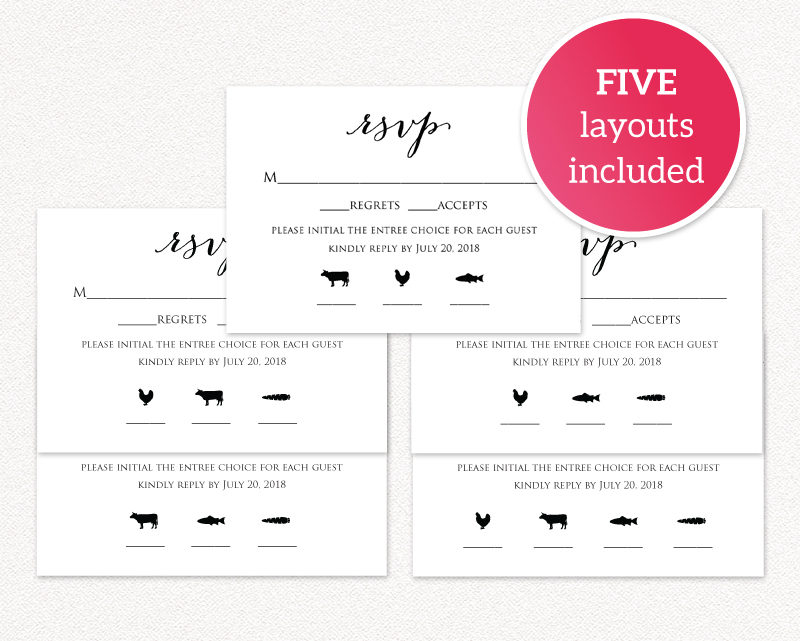 rsvp card with meal icons templates wedding templates and printables