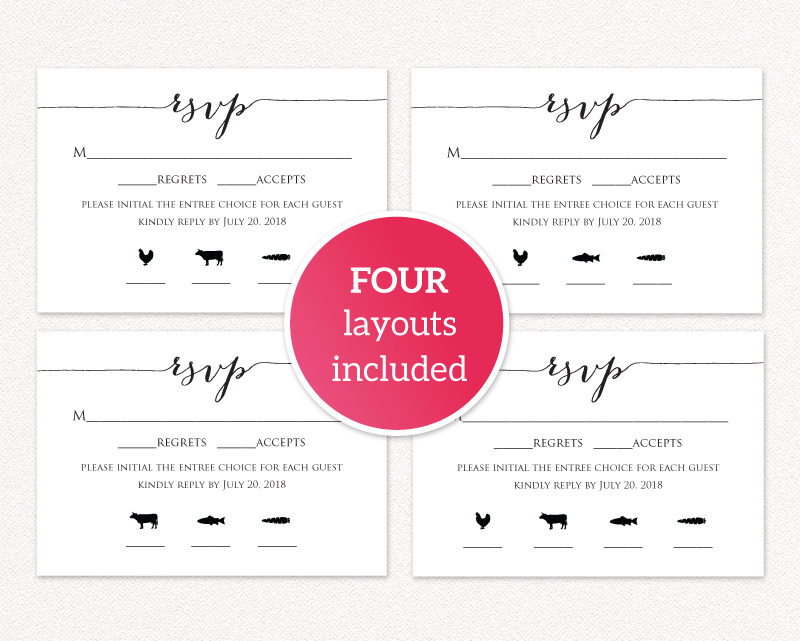 photo regarding Printable Rsvp Card known as RSVP Card With Evening meal Icons · Marriage Templates and Printables