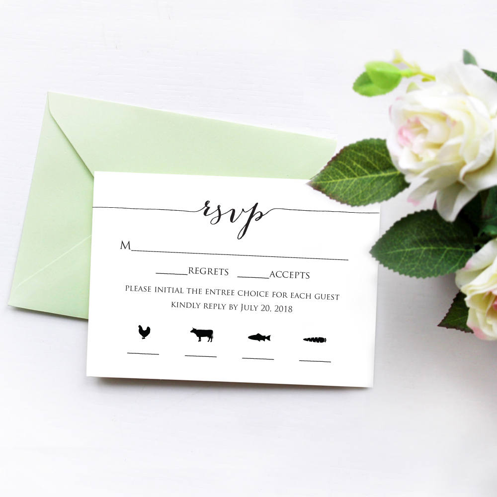 RSVP Card With Meal Icons Wedding Templates and Printables