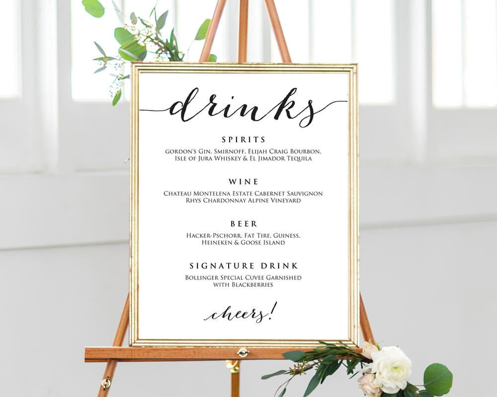 Wedding Drinks Menu Template Wedding Templates and Printables