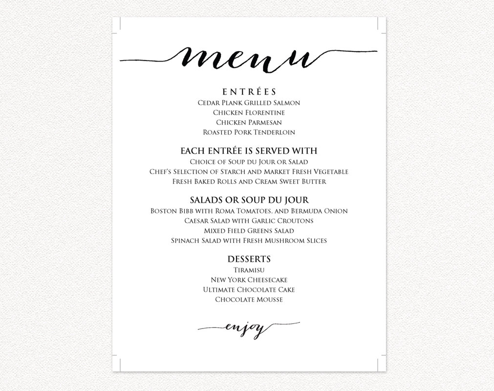 wedding menu templates wedding templates and printables