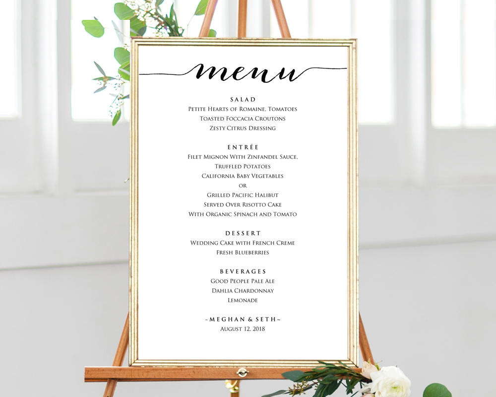 Wedding Menu Template.Wedding Menu Sign Template