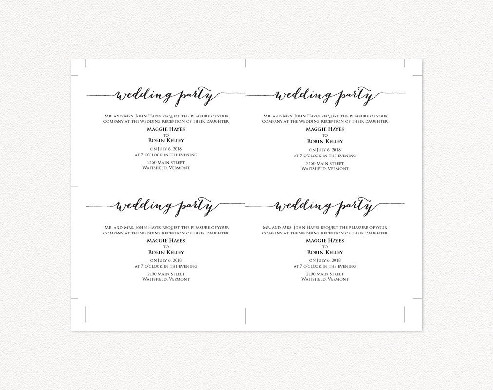 wedding party invitation wedding templates and printables. Black Bedroom Furniture Sets. Home Design Ideas
