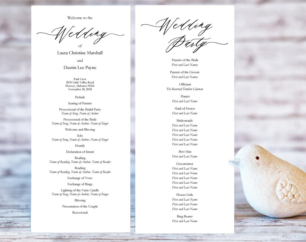 Wedding Ceremony Programs Wedding Templates And Printables