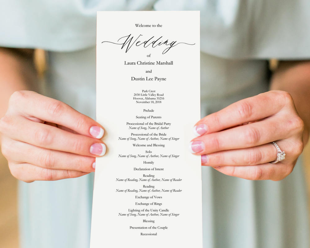 Wedding Ceremony Programs Templates And Printables