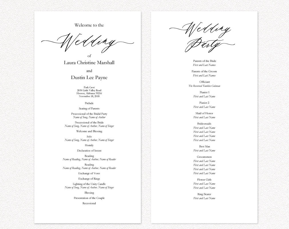Wedding ceremony programs wedding templates and printables for Programs for wedding ceremony template