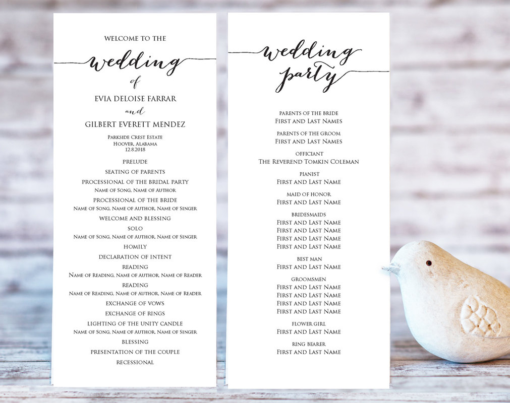 Wedding Program Templates Wedding Templates And Printables - Wedding program cover templates