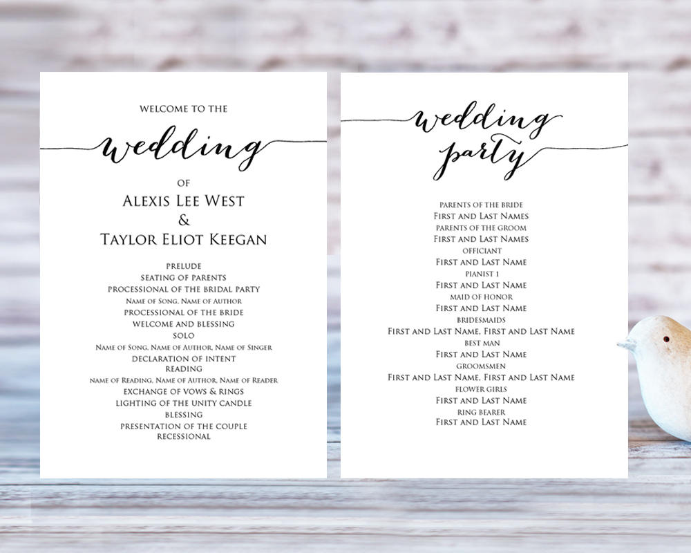Wedding Program Templates Wedding Templates And Printables - 5x7 wedding program template