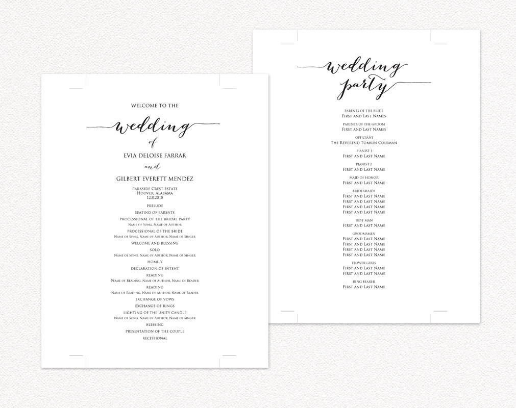 Wedding programs wedding templates and printables for Programs for wedding ceremony template