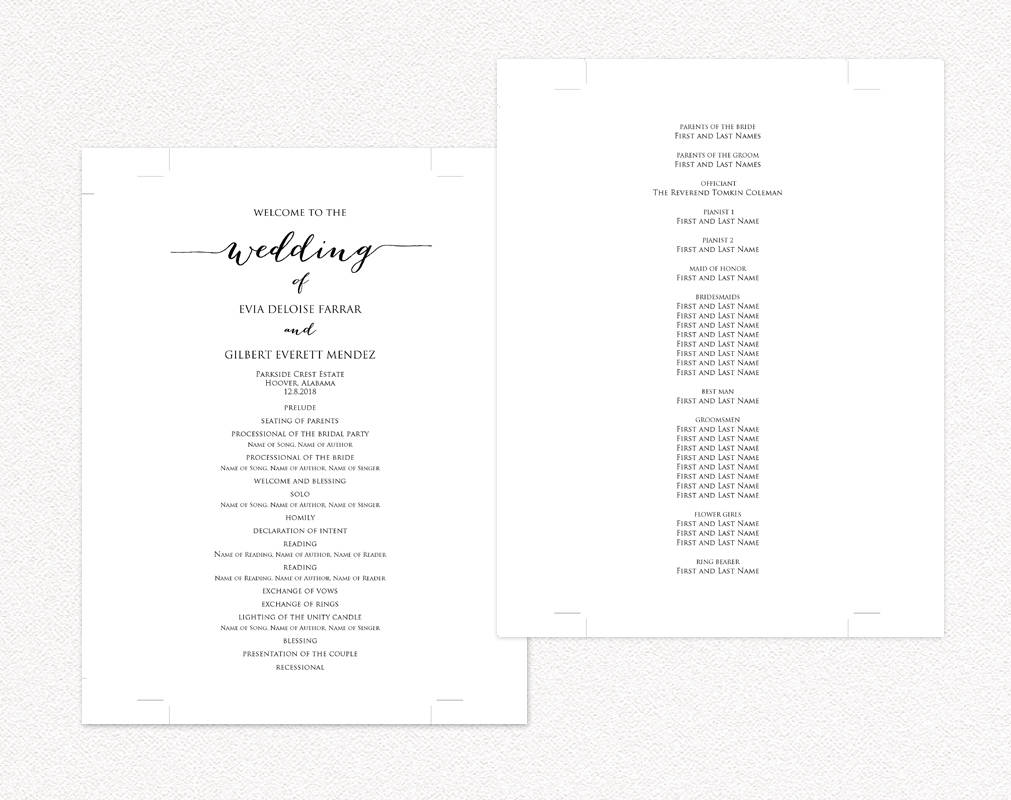 Wedding programs wedding templates and printables for Wedding ceremony itinerary template