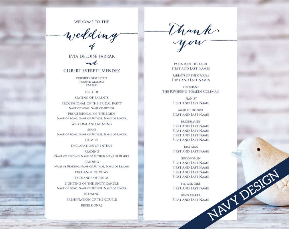 Printable Wedding Programs · Wedding Templates and Printables