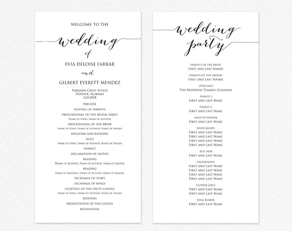 Wedding Ceremony Program Templates · Wedding Templates and Printables