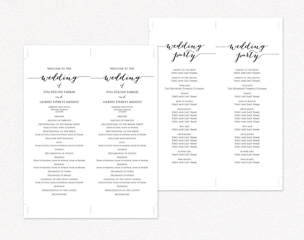 Wedding ceremony program templates wedding templates and for Free wedding program templates