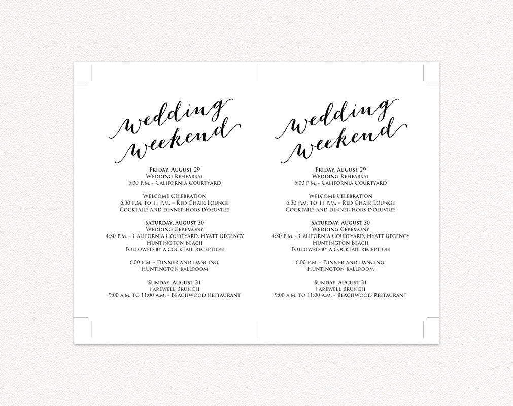 wedding weekend itinerary card wedding templates and printables
