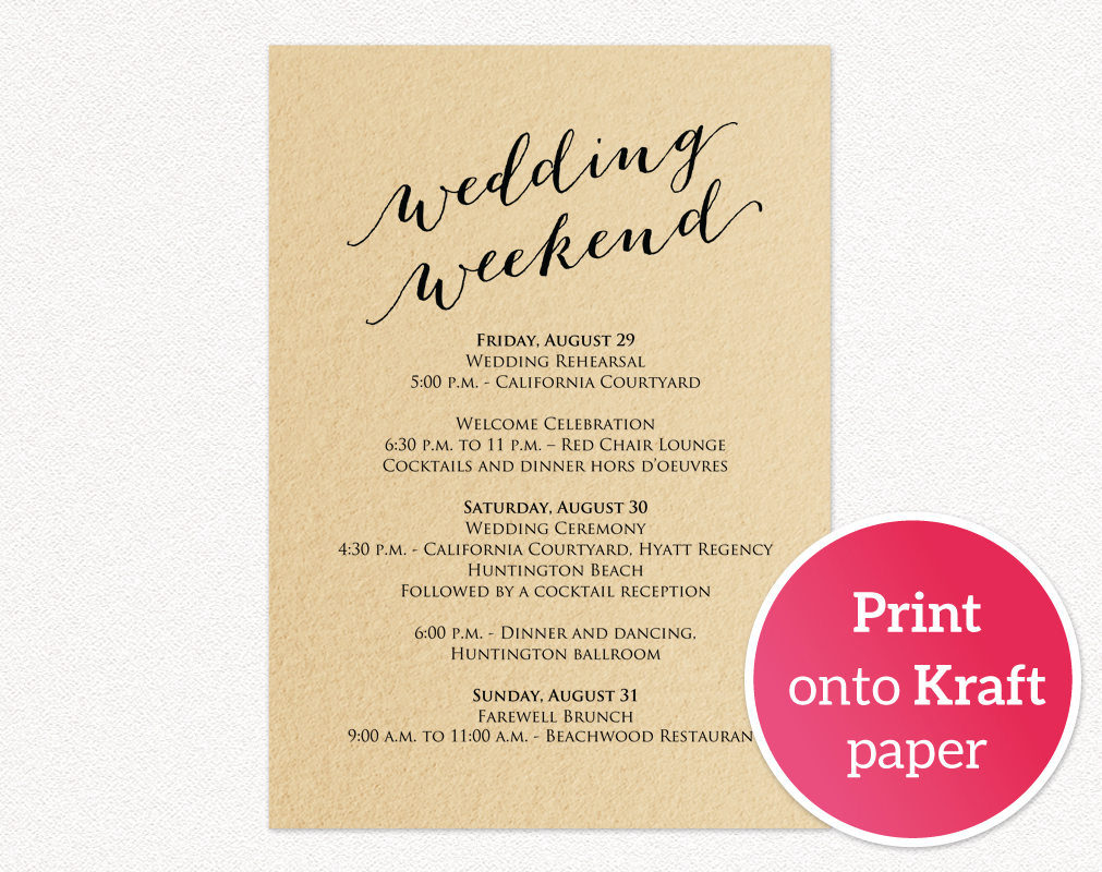Wedding Weekend Itinerary Card Wedding Templates And Printables - Wedding invitation information insert template