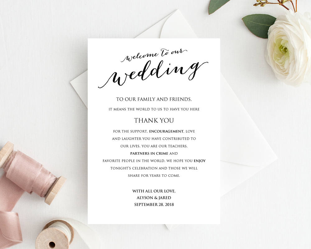 welcome to our wedding card  u00b7 wedding templates and printables